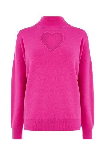 Warehouse, HEART CUT OUT JUMPER Bright Pink 0