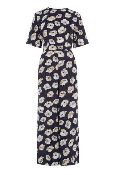 Warehouse, FLOATING FLORAL JUMPSUIT Navy 0