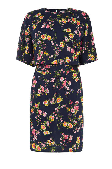 Warehouse, SPACED SIDNEY FLORAL DRESS Navy 0