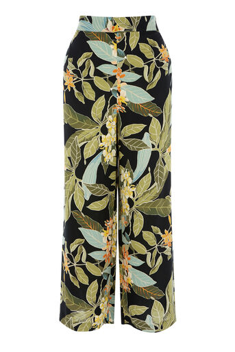 Warehouse, TROPICAL GARDEN CULOTTE Black Pattern 0