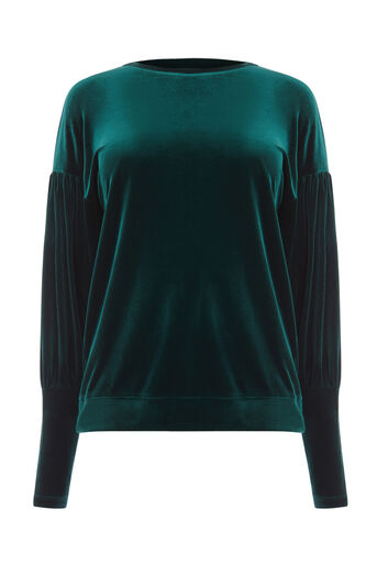 Warehouse, VELOUR BALLOON SLEEVE SWEAT Dark Green 0