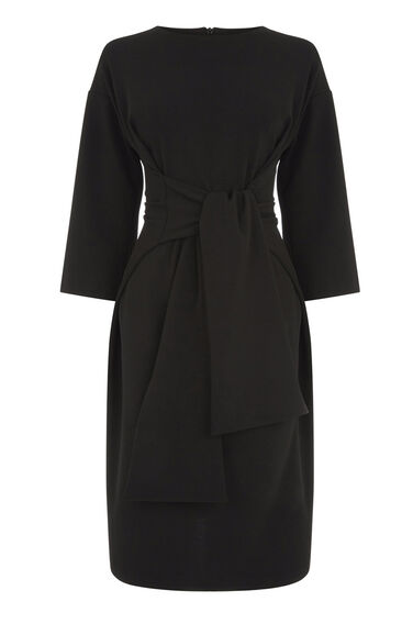 Warehouse, TIE WAIST CREPE DRESS Black 0