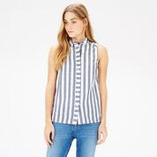 Warehouse, Sleeveless Stripe Shirt Blue Stripe 1