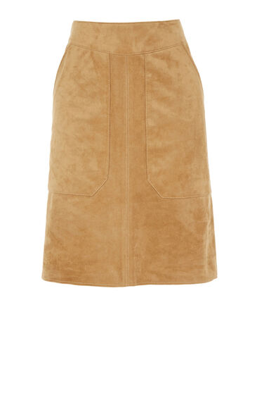 Warehouse, Suedette Pocket Detail Skirt Tan 0