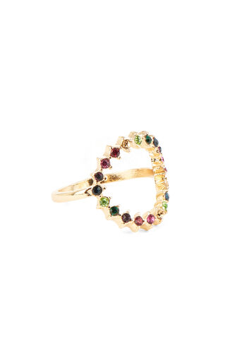 Warehouse, RAINBOW STONE CIRCLE RING Gold Colour 0