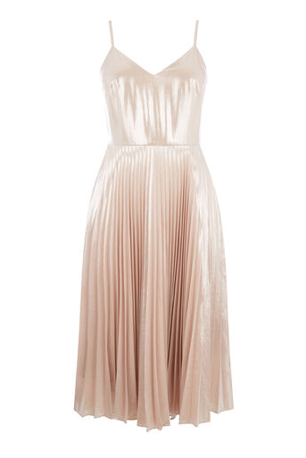 Warehouse, FOIL PLEATED DRESS Light Pink 0