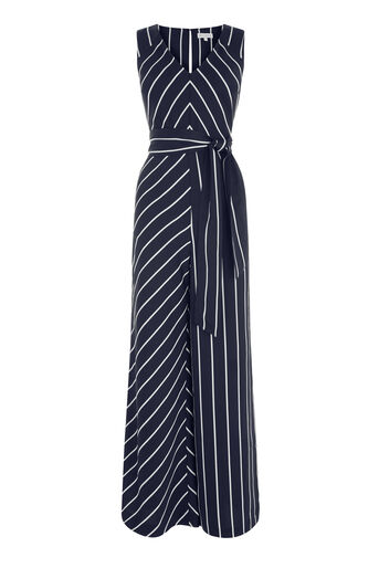 Warehouse, STRIPE JUMPSUIT Black Stripe 0