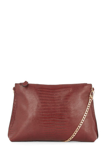 Warehouse, FLAT CHAIN CROSS BODY BAG Berry 0