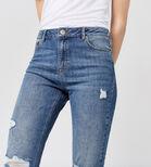 Warehouse, Distressed Straight Cut Jeans Mid Wash Denim 4