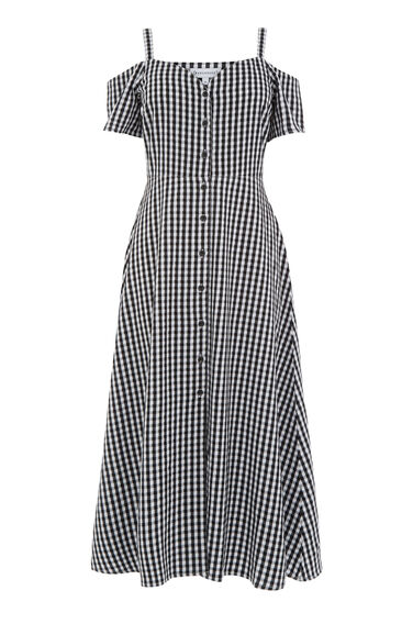 Warehouse, GINGHAM BUTTON FRONT DRESS Black Pattern 0