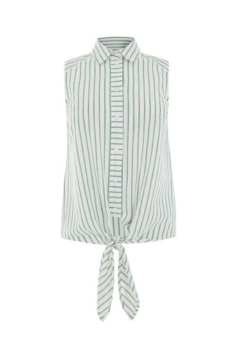 Warehouse, CASUAL SLEEVELESS STRIPE SHIRT Green Stripe 0