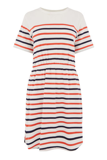 Warehouse, ENGINEERED STRIPE DRESS White 0