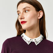 Warehouse, EMBELLISHED COLLAR JUMPER Berry 4