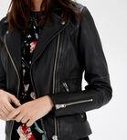 Warehouse, Clean Leather Biker Jacket Black 4