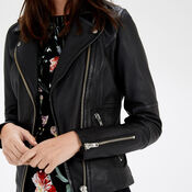 Warehouse, Clean Leather Biker Jacket Black 4