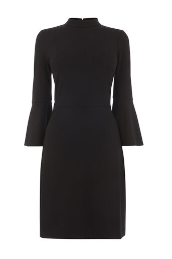 Warehouse, HIGH NECK PONTE DRESS Black 0