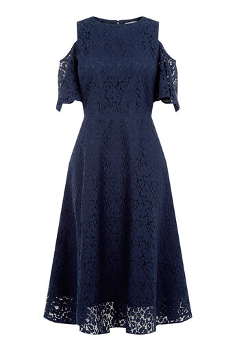Warehouse, LACE COLD SHOULDER DRESS Navy 0