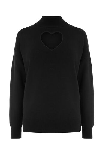Warehouse, HEART CUT OUT JUMPER Black 0