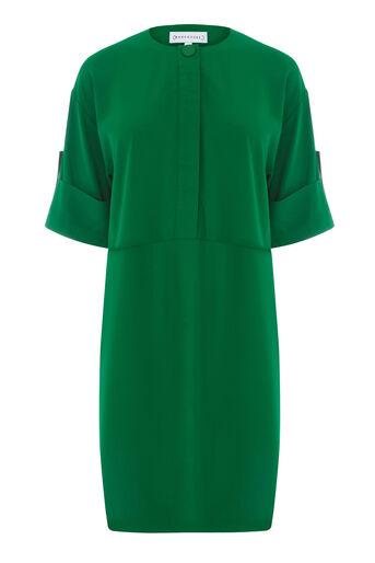 Warehouse, POPPER DETAIL DRESS Dark Green 0