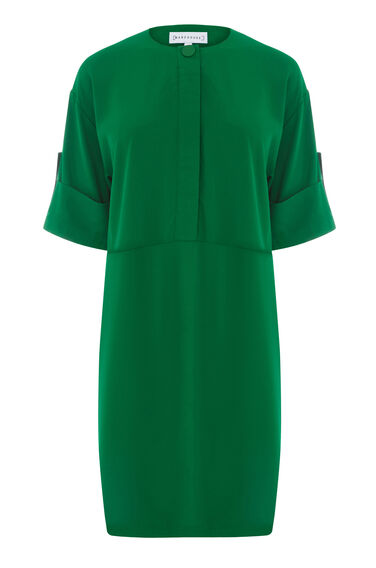 Warehouse, POPPER DETAIL DRESS Dark Green 0