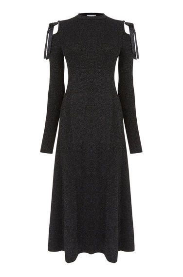Warehouse, SPARKLE TIE SHOULDER DRESS Black 0