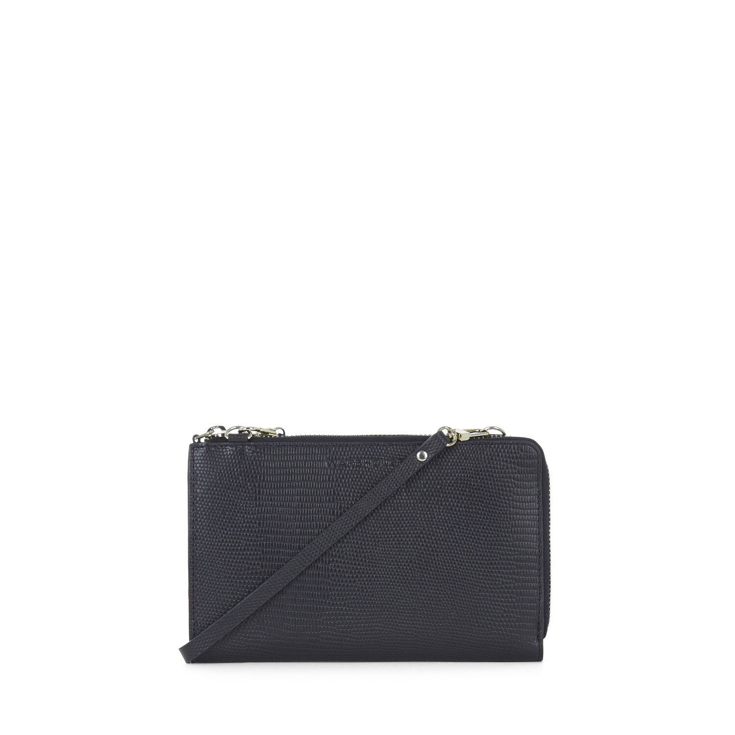 Warehouse, Leather Crossbody Wallet Navy 1