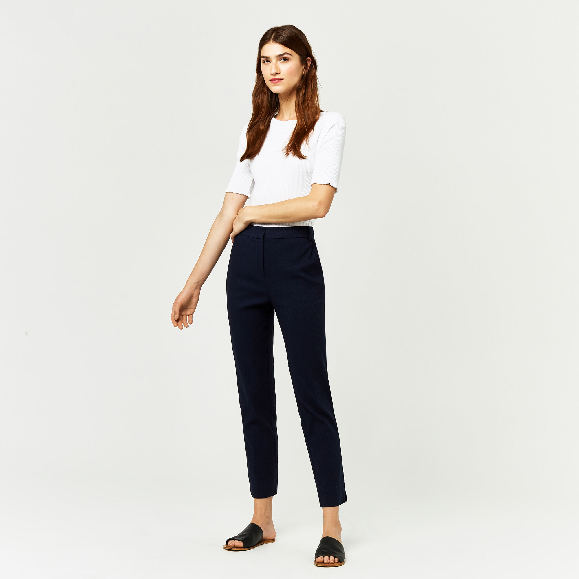 Warehouse, TEXTURED SLIM LEG TROUSER Navy 1