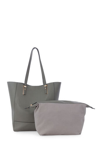 Warehouse, METAL PLATE DETAIL SHOPPER BAG Dark Grey 0