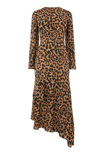 Warehouse, LEOPARD PRINT MIDI DRESS Brown 0