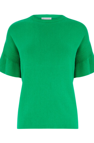Warehouse, FRILL SLEEVE KNIT TOP Bright Green 0