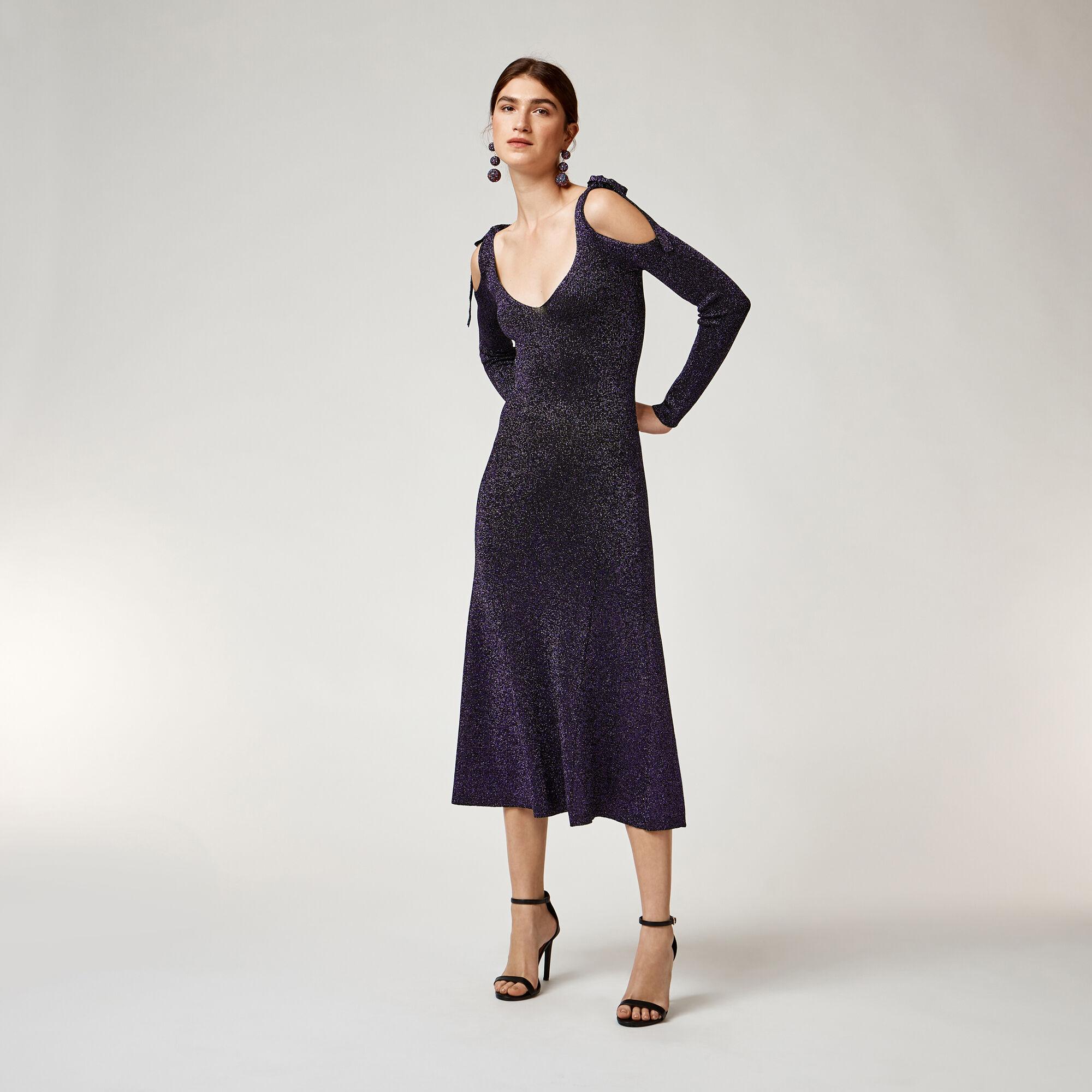 Warehouse, SPARKLE TIE SHOULDER DRESS Bright Purple 1