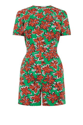Warehouse, WOODBLOCK DAISY PLAYSUIT Green Print 0