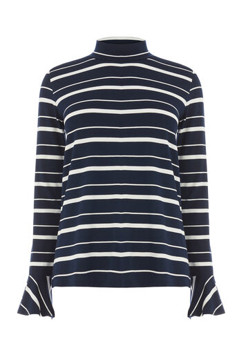 Warehouse, STRIPE POLO FLUTE CUFF TOP Navy 0