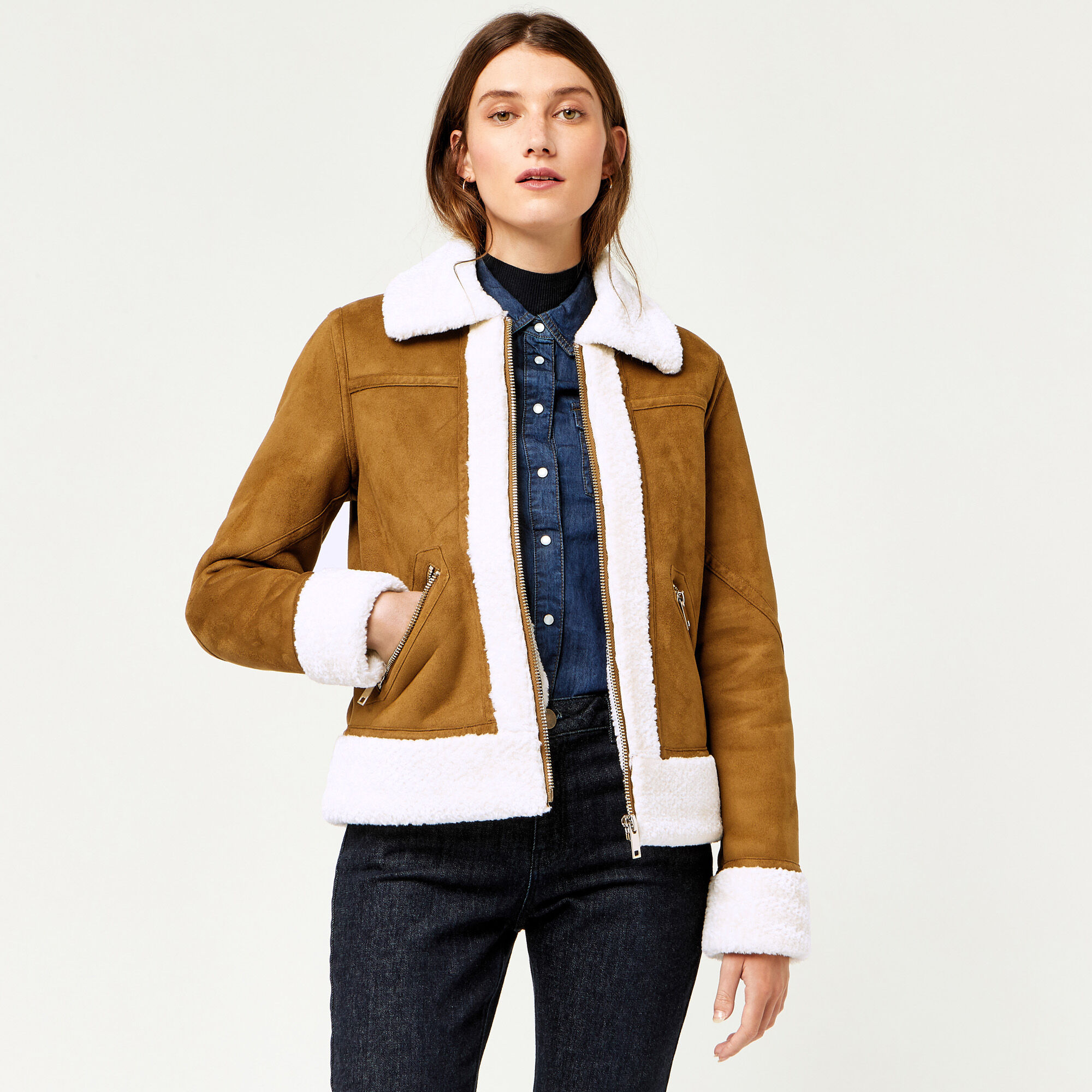 Warehouse, FAUX BORG ZIP THROUGH JACKET Tan 1
