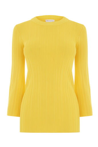 Warehouse, MULTI RIB FLUTED SLEEVE JUMPER Yellow 0