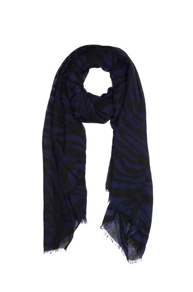 Warehouse, Jungle Stripe Print Scarf Blue Pattern 0