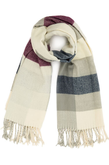 Warehouse, Stripe And Check Scarf Navy 0