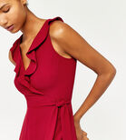 Warehouse, FRILL WRAP JUMPSUIT Dark Red 4