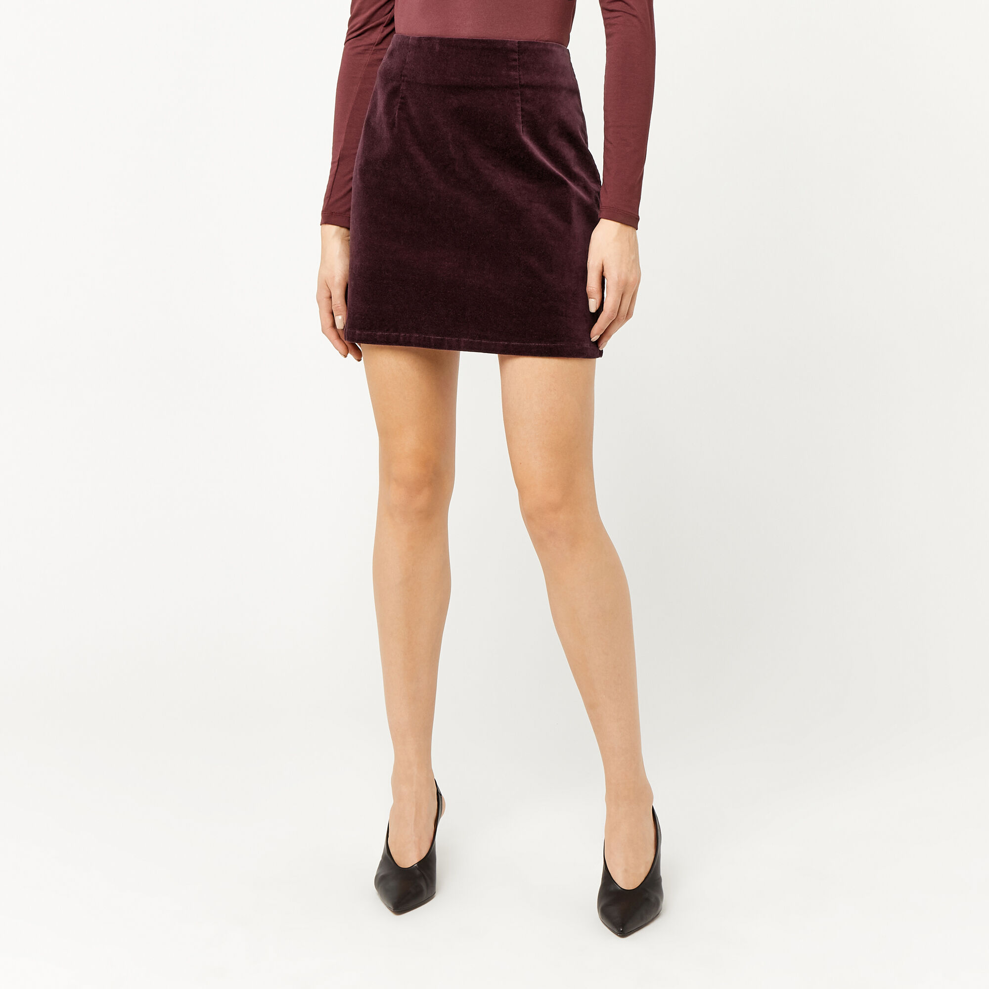 Warehouse, VELVET PELMET SKIRT Berry 1