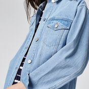 Warehouse, Long Denim Jacket Light Wash Denim 4