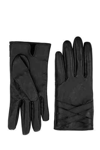 Warehouse, WOVEN CUFF LEATHER GLOVE Black 0