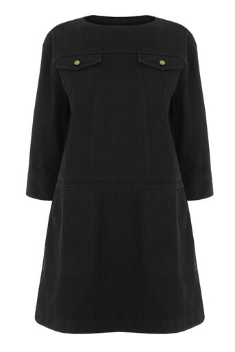 Warehouse, Pocket Denim Shift Dress Black 0
