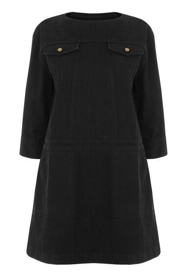 Warehouse, Pocket Denim Shift Dress Black 0