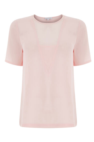 Warehouse, V DETAIL WOVEN MIX TEE Light Pink 0