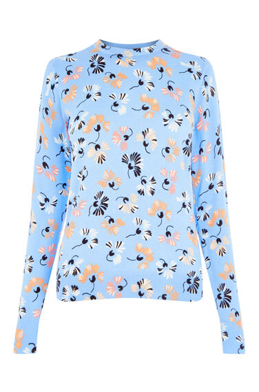 Warehouse, DANDY FLOWER PRINT JUMPER Blue Pattern 0