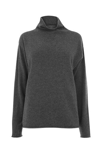Warehouse, CASHMERE FUNNEL NECK JUMPER Dark Grey 0