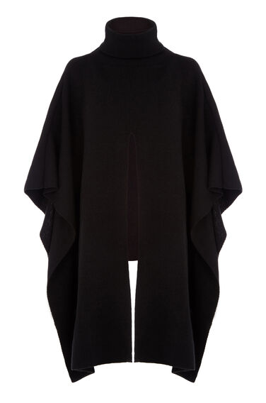 Warehouse, SPLIT FRONT PONCHO Black 0