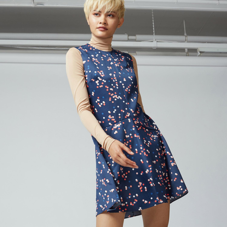 Warehouse, CONFETTI SPOT DRESS Blue Pattern 1