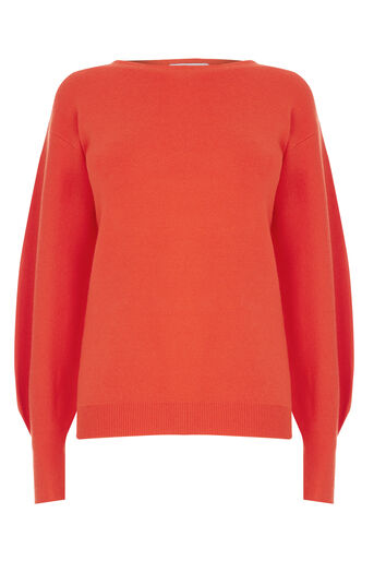 Warehouse, MILANO BLOUSON SLEEVE JUMPER Bright Red 0