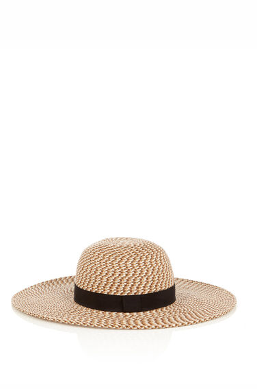 Warehouse, Mixbraid Floppy Hat Black Pattern 0